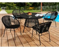 Conjunto de jardín KELIOS de resina trenzada - Negro: mesa + 4 sillones