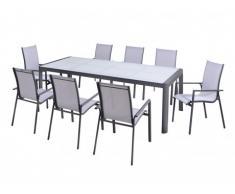 Comedor de jardín SAMAXI de aluminio - una mesa extensible 180/240cm + 8 sillones - Asiento blanco