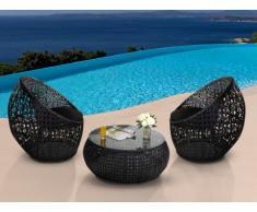 Conjunto para jardín CAZAS de resina trenzada - Negro: 2 sillones y una mesa