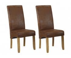 Conjunto de 2 sillas SANTOS - Microfibra con aspecto piel envejecida - Patas de madera clara