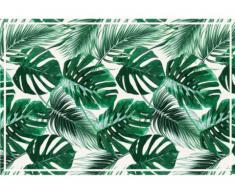 Alfombra de vinilo de estilo étnico SIERRANA - 120x180 cm - Verde y blanco