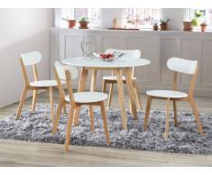 PACK comerdor: mesa de comedor + 4 sillas COLETTE - Blanco y natural