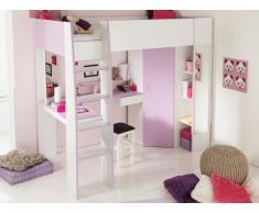 Cama alta GEMMA - 90x200cm - Con escritorio, espacio de almacenaje y armario integrados - Morado y blanco
