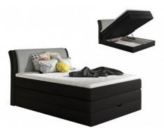 Conjunto boxspring de cabecero + somier abatible + colchón + cubre colchón GRANDIOSE de DREAMEA - Tela gris antracita - 140x200cm