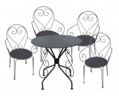 Comedor de jardín de hierro forjado GUERMANTES: mesa y 4 sillones antracitas