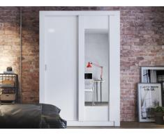Armario PETTERI - 2 puertas correderas - Con espejo - Ancho.152 cm - Blanco