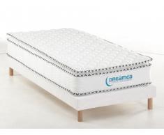 PACK Colchón ALTIER de DREAMEA + Base tapizada + Cubrecolchón integrado - 80x200 cm