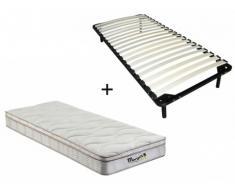 Pack somier de láminas + colchón de muelles de 3 zonas con memoria de forma WOLKENTANZ de MORGENGOLD - 90x200cm