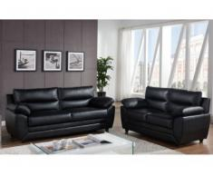 Sofá 3+2 plazas de piel sintética MANOA - Color negro