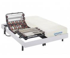 Cama articulada eléctrica de láminas y terminales con memoria de forma DIONYSOS de DREAMEA - motores OKIN - color blanco - 2x80x200cm