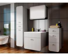Conjunto de baño LILI - Lavabo + muebles + espejo - Lacado blanco