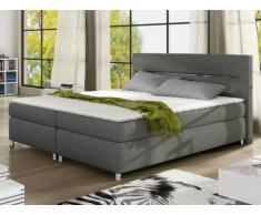 PACK Cabecero + somier + colchón + cubrecolchón PASSION de PALACIO - Tela gris - 2x80x200 cm
