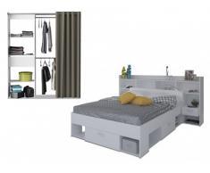 PACK dormitorio KYLIAN - Cama + cabecero con almacenaje 140x190 cm y armario vestidor extensible KYLIAN L114-168 cm - Blanco