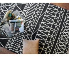 Alfombra GRIGORI - 100% Lana - 160x230 cm - Negro y blanco