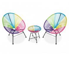 Conjunto de jardín ALIOS II de fibras de resina trenzada - Multicolor : 2 sillas y una mesa