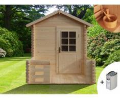 Sauna de uso exterior 2/3 plazas HUVILA III + calefactor 6kW + kit de accesorios