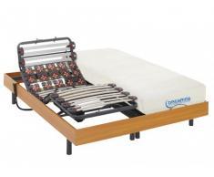Cama eléctrica de láminas y terminales con memoria de forma DIONYSOS de DREAMEA - motores OKIN - color cerezo - 2x80x200cm