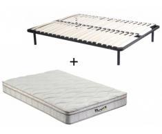 Pack somier de láminas + colchón de muelles de 3 zonas con memoria de forma WOLKENTANZ de MORGENGOLD - 140x200cm