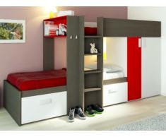 Cama litera JULIEN - 2x90x190 cm - Armario integrado - Marrón topo y rojo