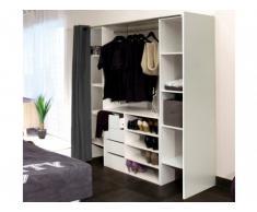 Conjunto de armario vestidor + mueble EMERIC - Blanco & Antracita