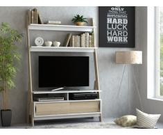 Mueble TV con estanterías ESKALI - 2 puertas - Blanco y roble