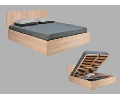 Cama con canapé abatible ELPHEGE - 140x190 cm - Color roble blanqueado