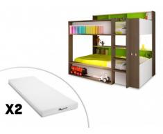 Cama litera DORIAN - 2x90x190 cm - Fondo verde + 2 colchones STELO KIDS 90x190 cm