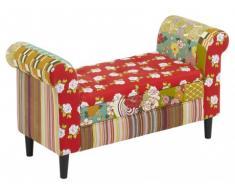 Banco con baúl de tela Patchwork SPANIA - Tonos rojos y verdes