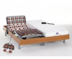 Cama eléctrica 100% látex HOMERE III de DREAMEA - Motor OKIN - color cerezo - 2x80x200 cm