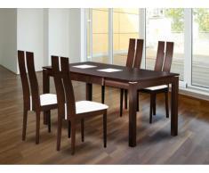 PACK comedor: Conjunto Mesa + 4 sillas SALENA - Haya maciza - Color wengué