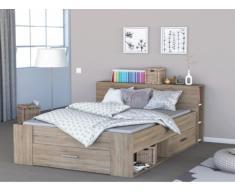 Estructura de cama LEONIS con espacios de almacenaje - 140x190 cm - Roble cepillado
