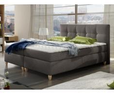 PACK Cabecero + somier + colchón + cubrecolchón POUPOUPIDOU de PALACIO - Tela gris - 2x80x200 cm