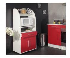 Mueble para microondas COLEEN - Rojo - 2 puertas, 1 cajón