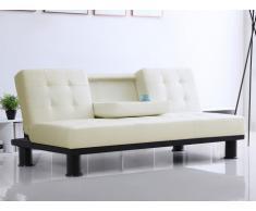 Sofá cama clic-clac de piel sintética DANIEL con respaldo central abatible - Blanco