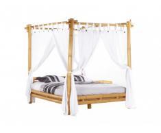 Cama con dosel y cortina MALINDI - 160x200 cm - Bambú
