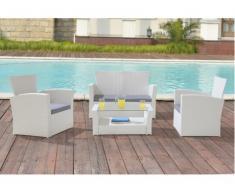 Conjunto de jardín AREQUIPA de resina trenzada blanca: sofá 2 plazas, 2 sillones y mesa de centro - Asiento gris