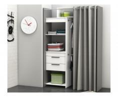 Armario vestidor extensible YANN - Largo 112/168cm - Blanco y gris