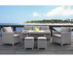 Conjunto de jardín OLINDA de resina trenzada beige claro: sofá, 2 sillones, 2 taburetes, mesa de comedor