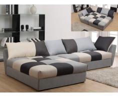 Sofá cama rinconero de tela ROMANE - Negro y gris - Ángulo izquierdo
