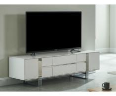 Mueble TV PETILLANTE - 2 puertas y 2 cajones - MDF y metal cromado - Blanco lacado