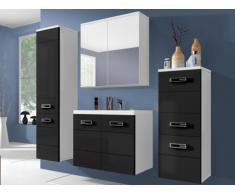 Conjunto de baño CLARENCE - Muebles + lavabo + espejo - Lacado negro/blanco