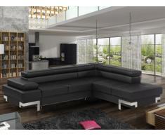Sofá cama rinconero de piel sintética DAMIEN - Negro - Ángulo derecho