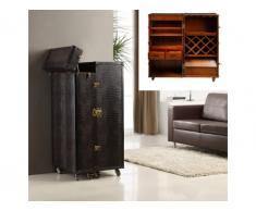 Mueble bar baúl LORIC - Piel sintética chocolate con efecto cocodrilo