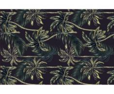 Alfombra de vinilo de estilo étnico JUBAEA - 120x180 cm - Negro y verde