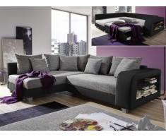 Sofá cama rinconero de tela y piel sintética KUOPIO - Gris/negro - Ángulo izquierdo