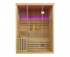 Sauna Tradicional Finlandesa 2/3 plazas acristalada con leds SIGTUNA - Largo 150 x Ancho 120 x Alto 200 cm