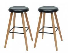 Lote de 2 taburetes de bar ALDOR - Metal y madera - Negro