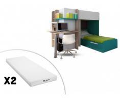 Cama litera SAMUEL - 2x90x190 cm - Escritorio integrado - Pino blanco/turquesa + 2 colchones STELO KIDS