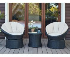 Conjunto de jardín SIBU de resina trenzada chocolate: 2 sillones pivotantes y une mesa de centro