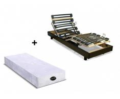 Cama eléctrica articulada con colchón natural memoria de forma PARURE de NATUREA - Negro - 80x200 cm
